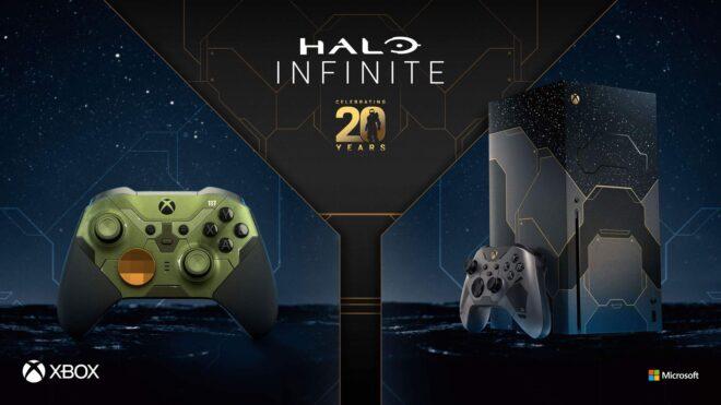 L'édition limitée Halo Infinite de la Xbox Series X et la manette Elite Series 2 édition limitée Halo Infinite.